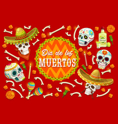 dia de los muertos sugar skulls marigold flowers vector image
