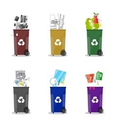 Different waste recycling categories garbage bins vector