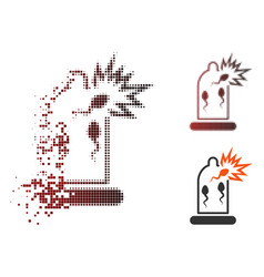 Dispersed pixel halftone condom sperm damage icon vector