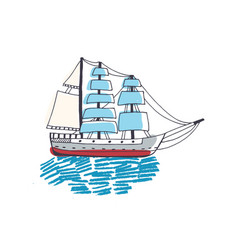 Drawing of gorgeous ship sailing boat frigate or vector