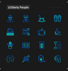 elderly people thin line icons set vector image