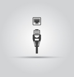 Ethernet cable and port isolated black icon vector