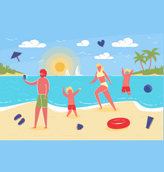 family with kids enjoy summer beach vacation vector image