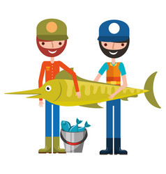 Fisherman fish and bucket fishes hobby vector