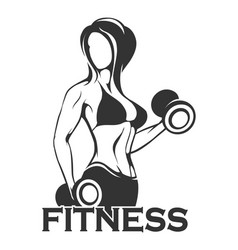 fitness emblem with girl training dumbbell vector image