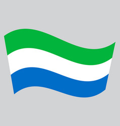 Flag of sierra leone waving on gray background vector