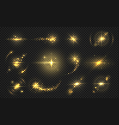 flashes lights and sparks golden glitter effect vector image