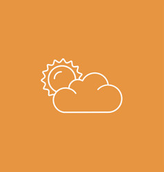Flat sun and cloud weather web icon vector