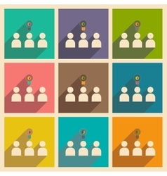 Flat with shadow concept icon group of people vector