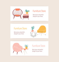 furniture store web banner templates set vector image