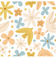 gentle birds and flowers seamless pattern vector image