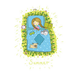 Girl cats and dog sleep in bed good night vector