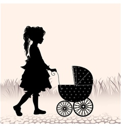 Girl with a stroller vector