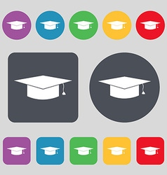 Graduation cap icon sign A set of 12 colored vector