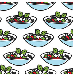 greek salad dish seamless pattern greece cuisine vector image