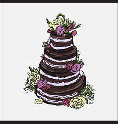 hand drawn of cake vector image