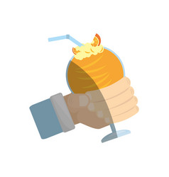 Hand holding delicious orange cocktail straw vector
