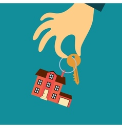 hand of a real estate agent holding a key with a vector image