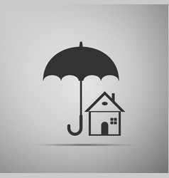 house with umbrella real estate insurance symbol vector image