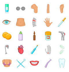 human health icons set cartoon style vector image