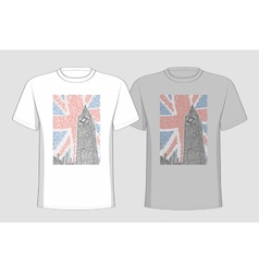 Image big ben placed on t-shirts vector