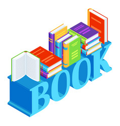 isometric word with books vector image