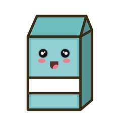 Kawaii cartoon milk box vector