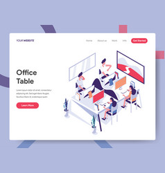 landing page template office table concept vector image
