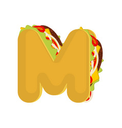 letter m tacos mexican fast food font taco vector image