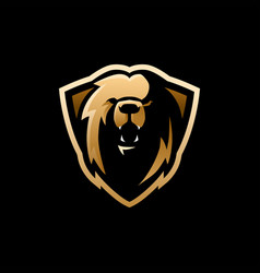 lion shield e sport logo icon vector image
