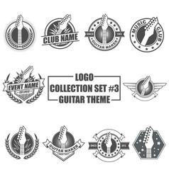 Logo collection set with guitar theme vector