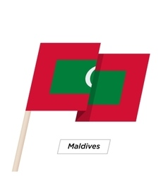 Maldives ribbon waving flag isolated on white vector