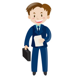 Man in blue suit with file and bag vector