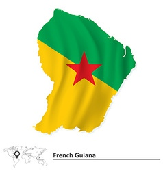 Map of French Guiana with flag vector image