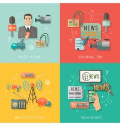 Mass media concept flat business composition vector