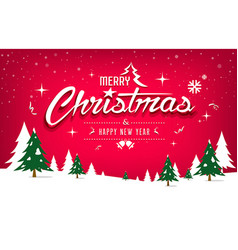merry christmas tree and snow design on red vector image