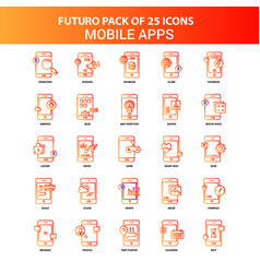 Orange futuro 25 mobile apps icon set vector