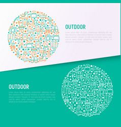 outdoor concept in circle with thin line icons vector image