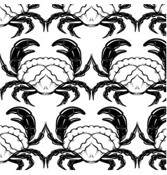 Pattern with hand drawn crab in realistic vector