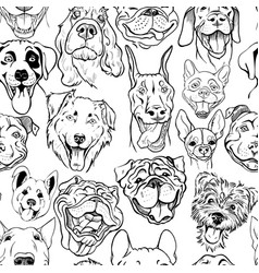 Pattern with muzzles of dogs of different breed vector
