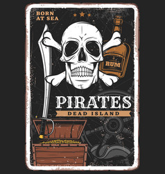Pirates poster vintage skull treasure and rum vector
