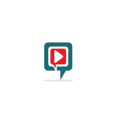 play button talk bubble logo vector image