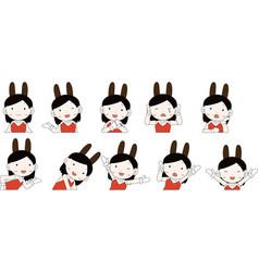 Pop cute pose cute bunny girl set vector