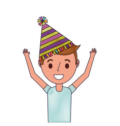 portrait happy young boy with party hat arms up vector image