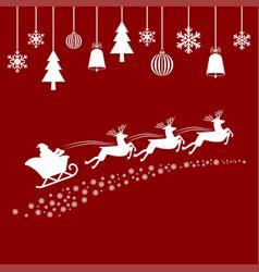 santa flying in a sleigh with reindeer vector image