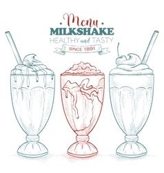 Scetch milkshake menu vector