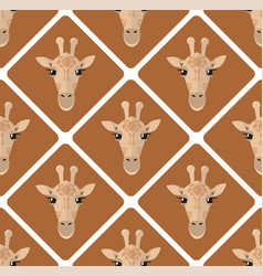 Seamless pattern with giraffes rhombuses on beige vector