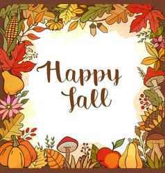 seasonal autumn floral frame vector image