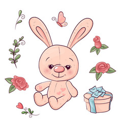set hare and flowers hand drawing vector image