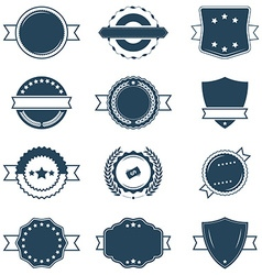 Set of blank blue and white retro labels vector